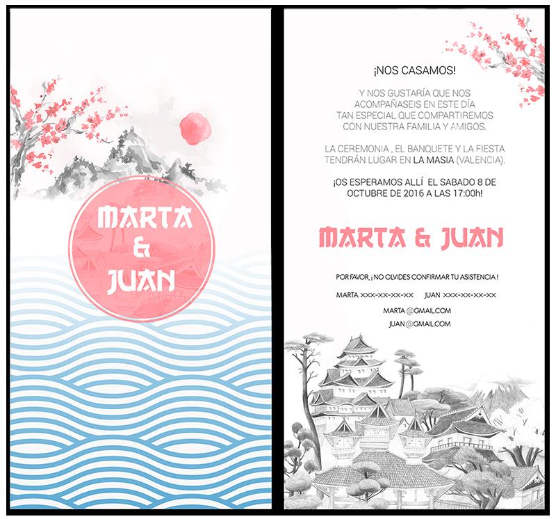 Invitaciones de boda Valencia con temática japonesa