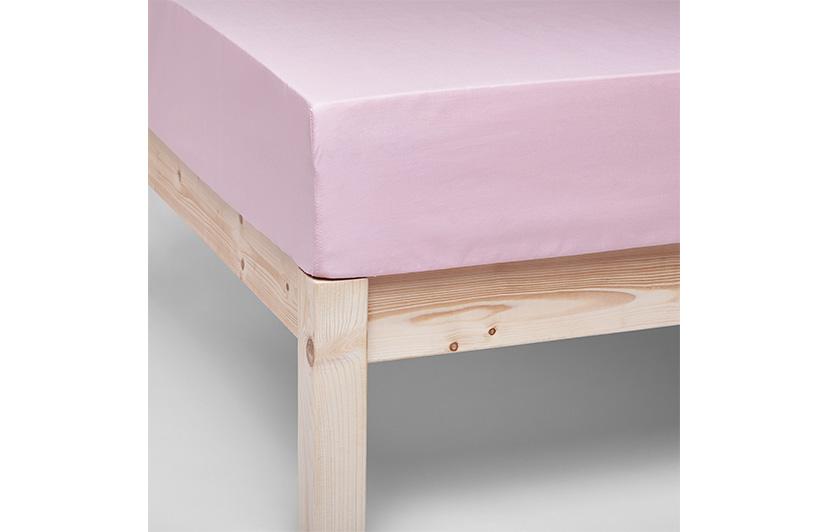 sabana bajera don algodon rosa